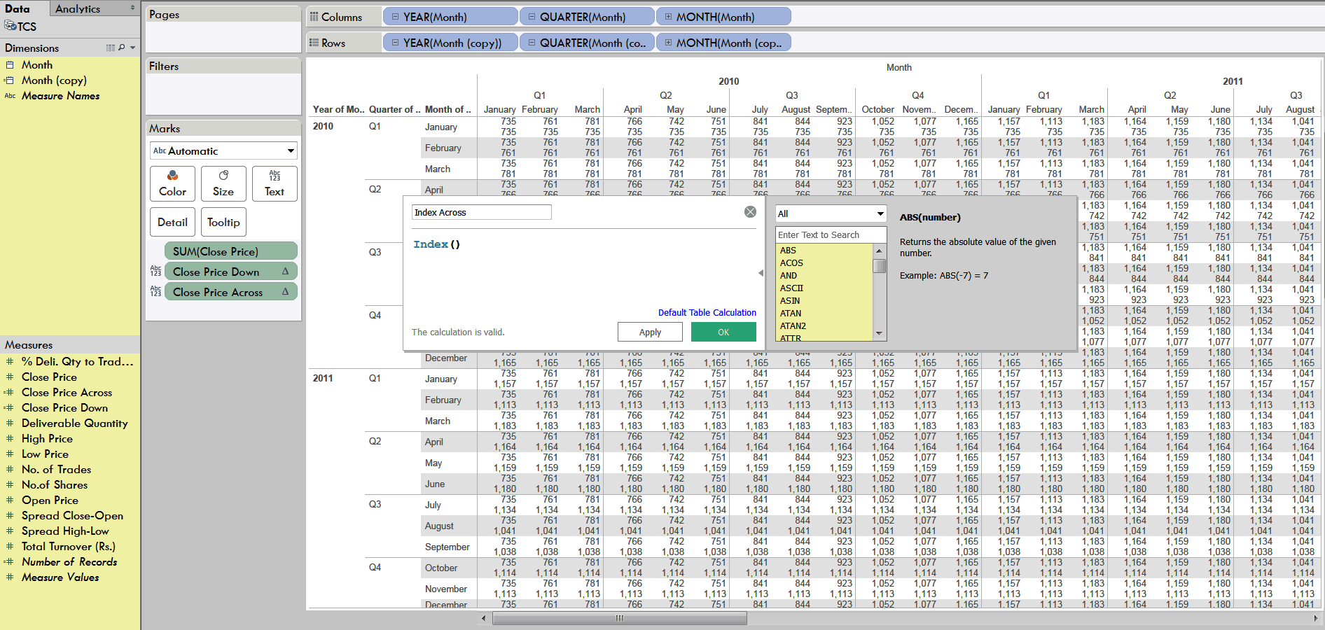 creating  calculated field to create index across and down