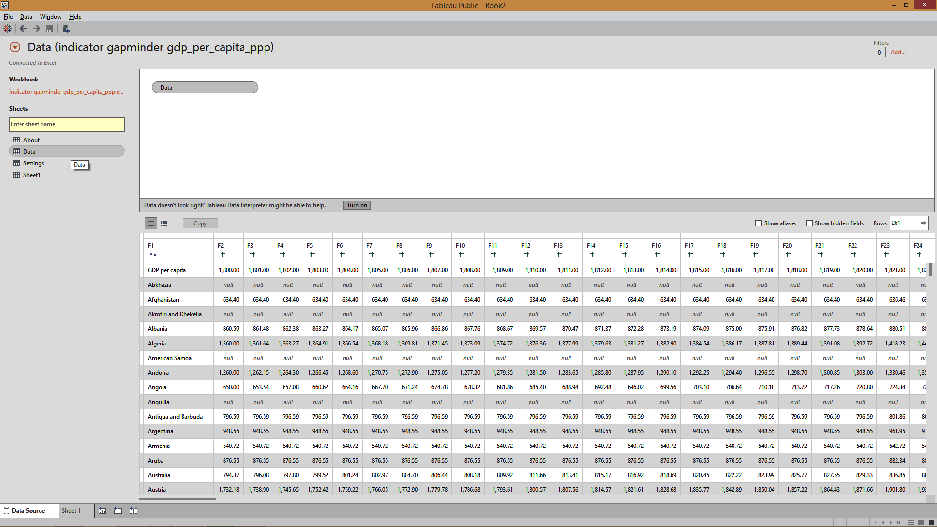 connecting excel to tableau