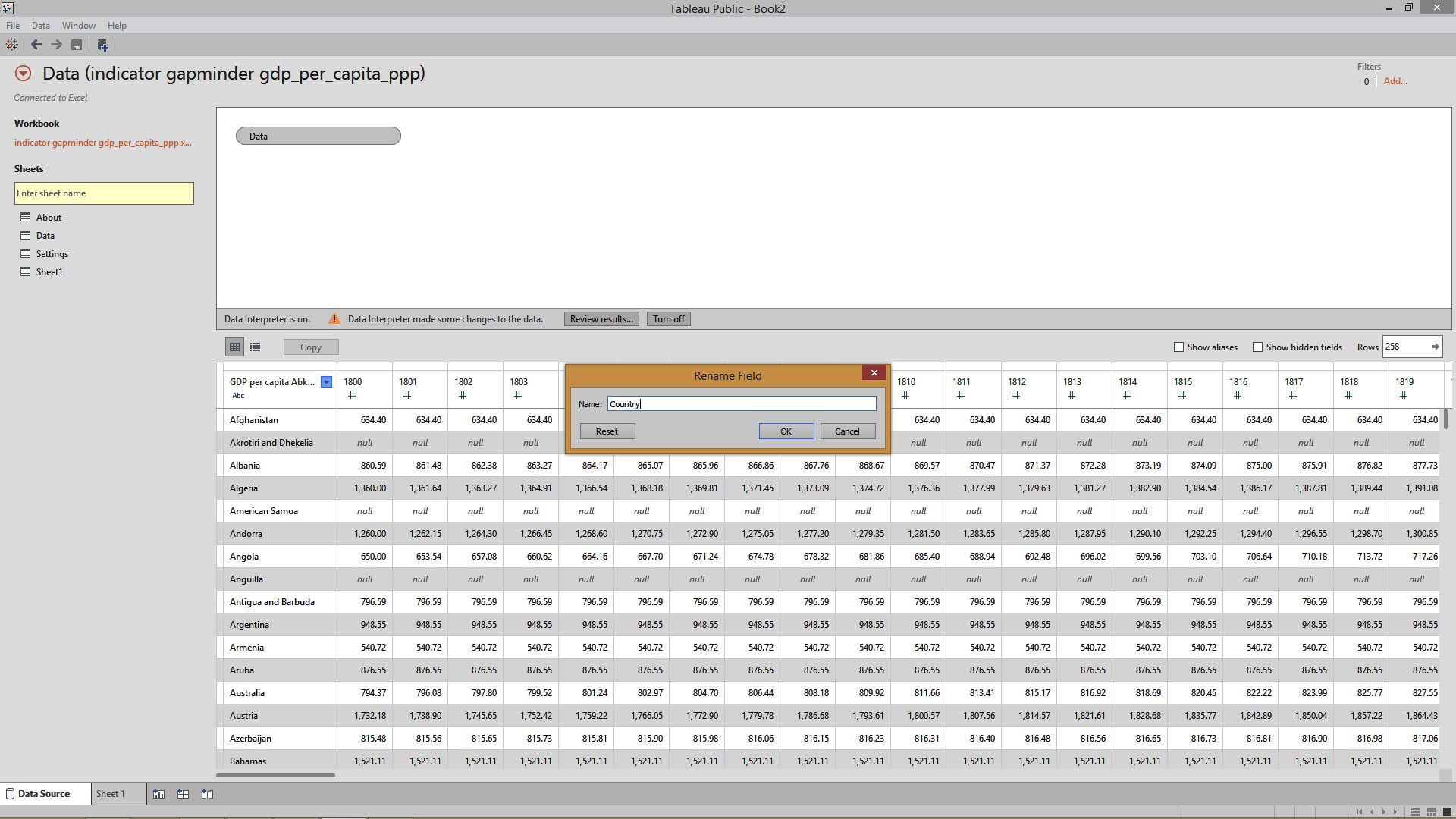 renaming column  in tableau