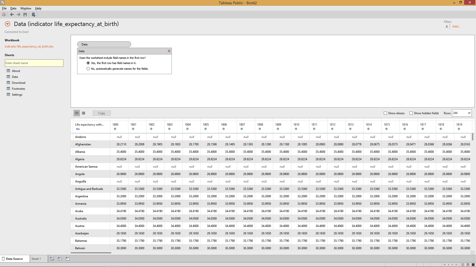 connecting data source in  tableau