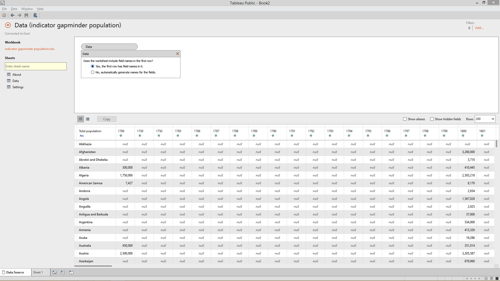 connecting data in tableau