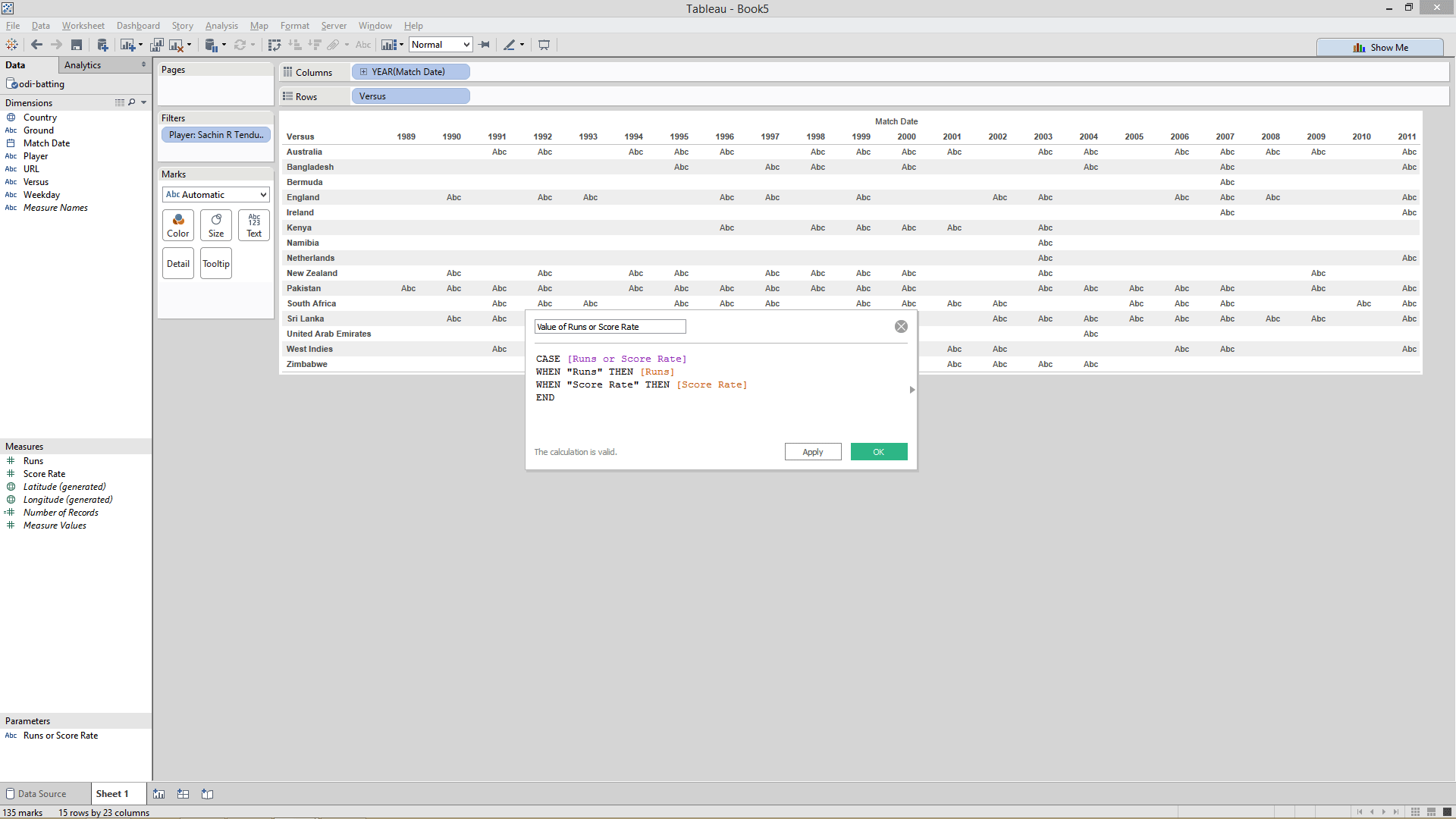 creating calculated field in  Tableau
