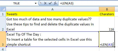 Using LEN function Excel