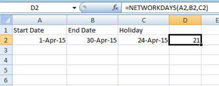 Using NETWORKDAYS function in Excel