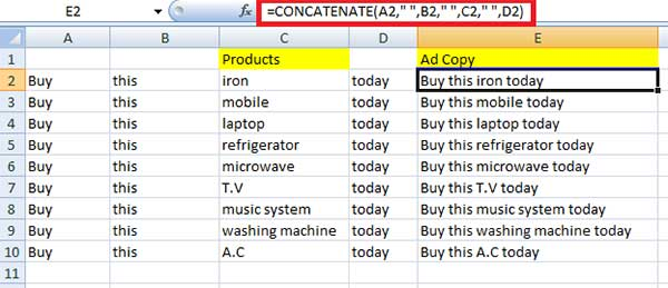 CONCATENATE function for PPC marketers