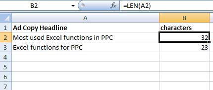 LEN function for PPC marketers