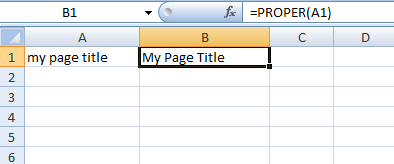 Using Excel's PROPER function in SEO