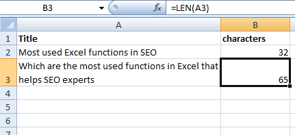 Using Excel's LEN function in SEO