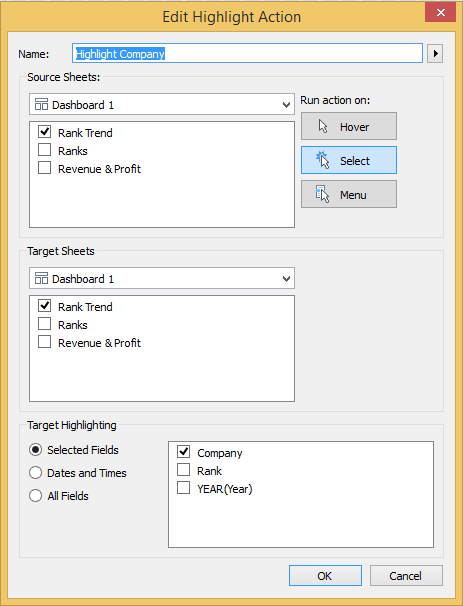 editing highlight action in tableau