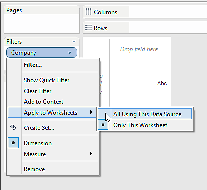 filter option in tableau