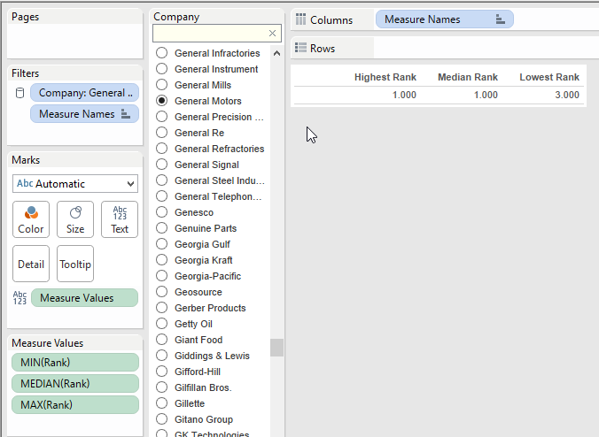 creating a tabular view in tableau