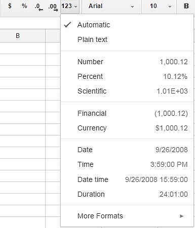 How to format Google spreadsheet