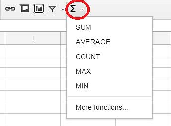 Using functions in Google spreadsheets