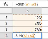 Using sum function in Google spreadsheet