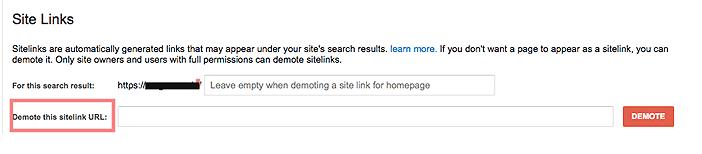 sitelinks in Google Webmasters