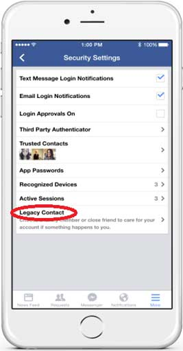 Setting up legacy contact in Facebook