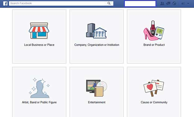 What different types of pages I can create on Facebook
