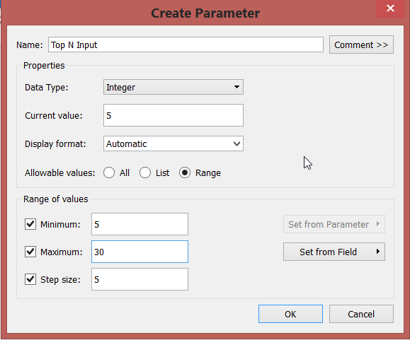 creating  parameters in tableau