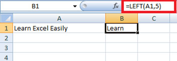 Left string function in Excel