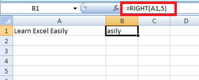 Right string function in Excel