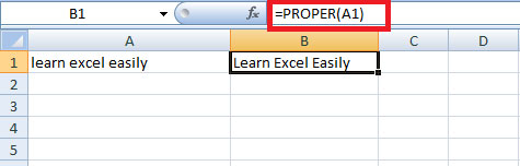 Proper function in Excel