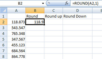 Using Round function in Excel