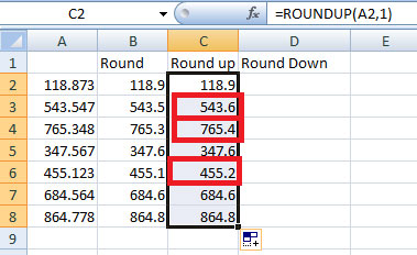 Using Round, Roundup and Rounddown function in Excel