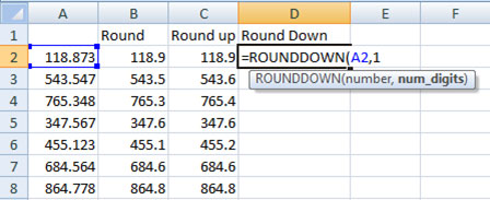 Using Rounddown function in Excel