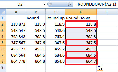 Difference between Round, Roundup and Rounddown function in Excel