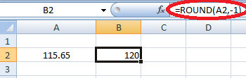 rounding number to the nearest 10 in excel