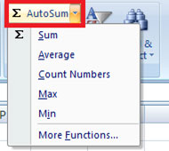 AutoSum option in the ribbons menu