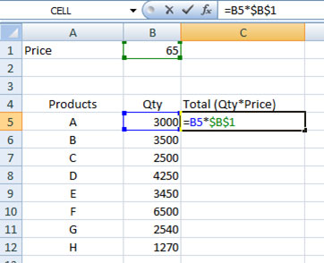 Absolute cell reference in Excel