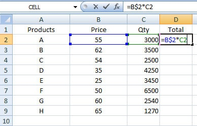 Mixed cell reference in Excel