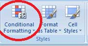 Conditional Formatting option in Excel