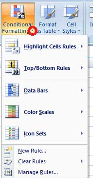 Options available in conditional formatting