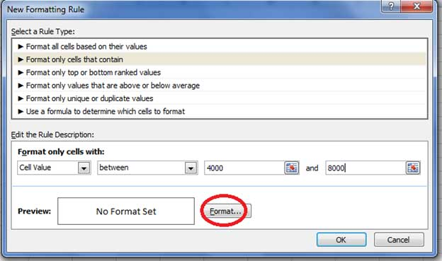 Using new formatting rule in Excel
