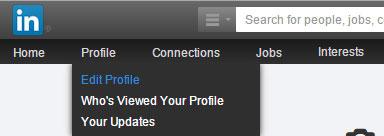 editing profile on LinkedIn