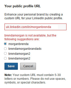 setting URL for  LinkedIn