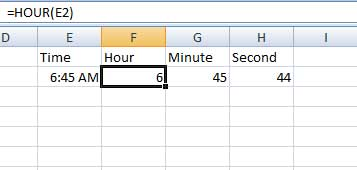 Hour, Minute and Second function in Excel