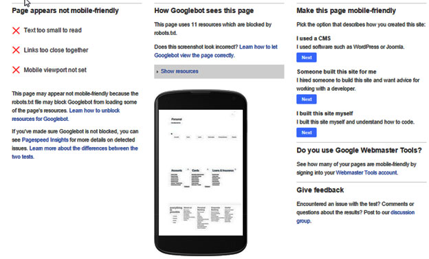 How to check mobile friendliness of a website