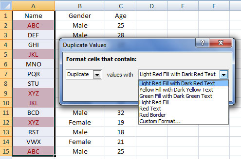 formatting duplicate values in excel