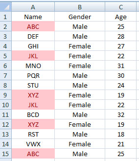 duplicate values in excel