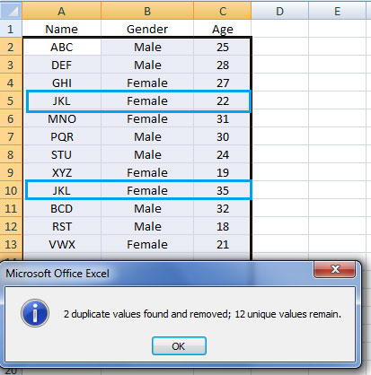 removing the duplicates in excel