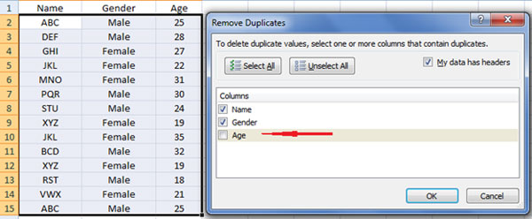 selecting criteria for removing duplicates
