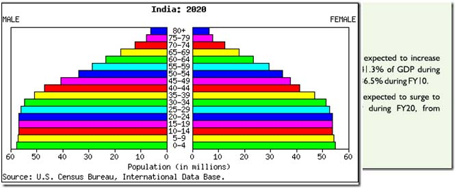 Age demographics in India in 2020
