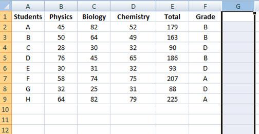 hiding columns in Excel