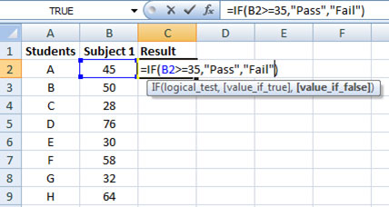 Formula for IF function in Excel