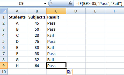 Using IF function in Excel