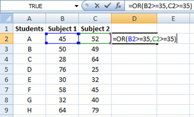 Formula for OR function in Excel