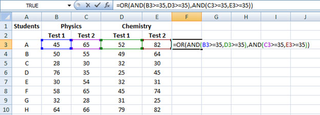 Combining OR and AND function Excel